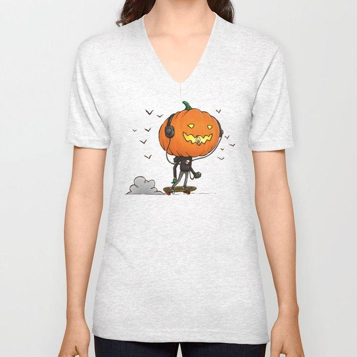 The Skater Pumpkin Unisex V-Neck