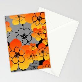Orange big Blossoms grey background Flowers Stationery Cards