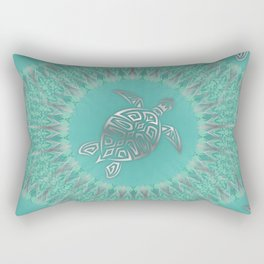 Turquoise Silver Turtle And Mandala Rectangular Pillow