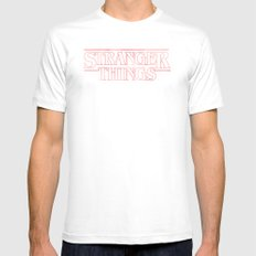 Stranger Things LARGE Mens Fitted Tee White