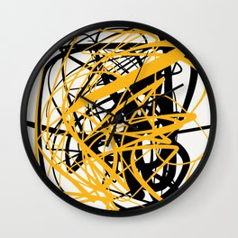 Zen abstract art in yellow and black Wall Clock