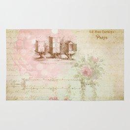Pretty Vintage Pink Ephemera and Floral Collage Rug