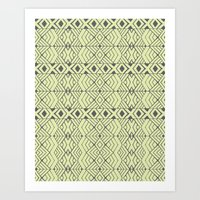 lime green Art Prints featuring Lime Green Aztec by Pom Graphic Design