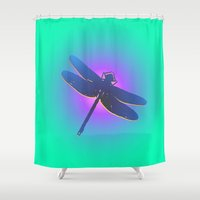 dragonfly Shower Curtains featuring Dragonfly by JT Digital Art