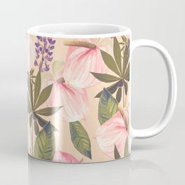 seamless  pattern with  flowers and leaves. Endless texture Coffee Mug