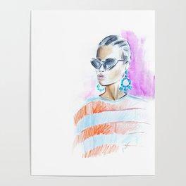 Watercolor girl Poster