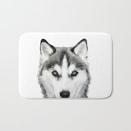 Siberian Husky dog with two eye color Dog illustration original painting print Bath Mat