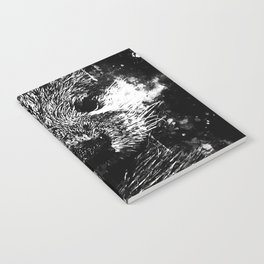 furry fish otter splatter watercolor black white Notebook