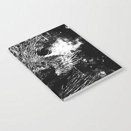 furry fish otter splatter watercolor black white Notebook