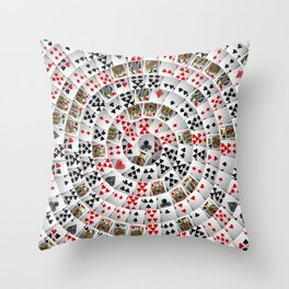 Playing cards swirl Throw Pillow