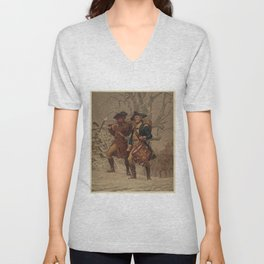 Vintage Continental Army Soldiers Painting (1875) Unisex V-Neck