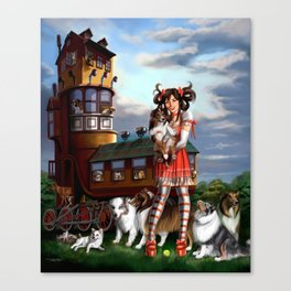 Gothic Lolita in the Shoe with Dogs Canvas Print