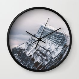 Mt. Rundle Piercing the Clouds Wall Clock