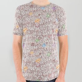 Seamless pattern world crowded with funny cats All Over Graphic Tee