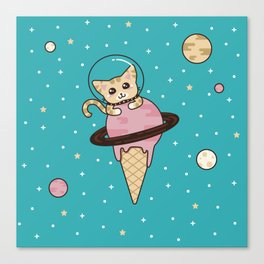 Space Cat on Ice Cream Planet Canvas Print
