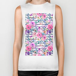 Pink mauve lilac hand painted watercolor roses floral stripes Biker Tank