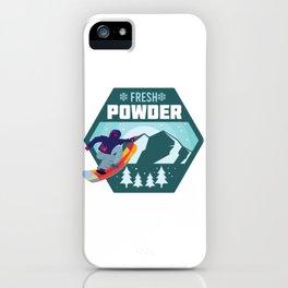 Fresh Powder - Snowboarding on Blue Bird Day iPhone Case