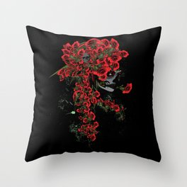 Rose skull girl Throw Pillow