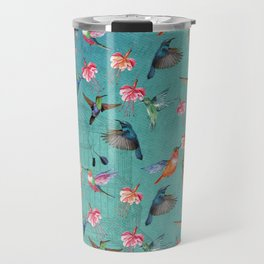 Vintage Watercolor hummingbirds and fuchsia flowers Travel Mug