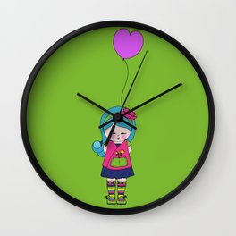 Kokoro Flower balloon - green Wall Clock