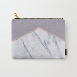 Smokey lilac - rose gold geometric marble Carry-All Pouch