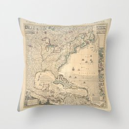 A map of the British Empire in America  -  with the French, Spanish and Hollandish settlements adjacent theretoAdditional Carte particuliere de la Ame Throw Pillow