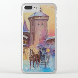 Winter scene Christmas in the old town illustration Winter landscape Architecture painting Clear iPhone Case