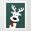 Reindeer in a snowy day (green) by absentisdesigns