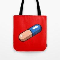 akira Tote Bags featuring Akira Pill by azra