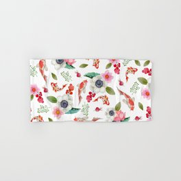 Modern pink red watercolor tropical floral koi fish pattern Hand & Bath Towel