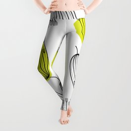 Background with dill. Seamless pattern with fennel. Black and white abstract pattern. Leggings