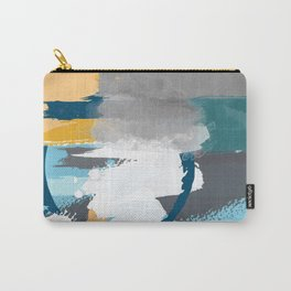Abstract Grey & Blue Carry-All Pouch