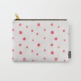 Pink red watercolor hand painted polka dots Carry-All Pouch