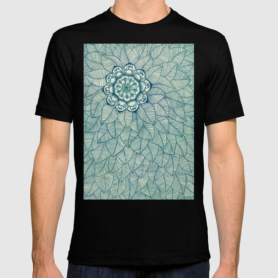 Emerald Green, Navy & Cream Floral & Leaf doodle T-shirt