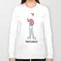 waldo Long Sleeve T-shirts featuring Invisible Waldo by Chris Bey