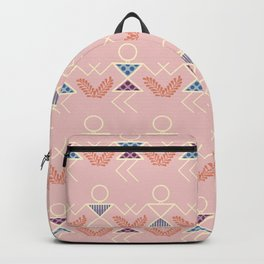 Peach Warli Print Backpack