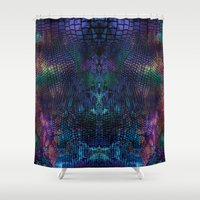 snake Shower Curtains featuring snake by Marta Olga Klara