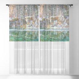 A Serene Chill Hanging Lake Winter Sheer Curtain