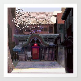 Kyoto Cafe from Red Festival Book Art Print