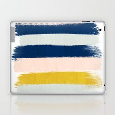 Esther - navy mint gold painted stripes brushstrokes minimal modern canvas art painting Laptop & iPad Skin