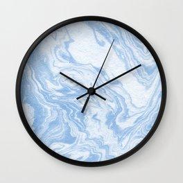 Ryoko - spilled ink abstract painting marble marbled paper art minimal swirl modern water ocean wave Wall Clock