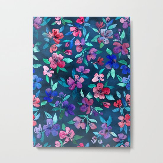 Southern Summer Floral - navy + colors Metal Print