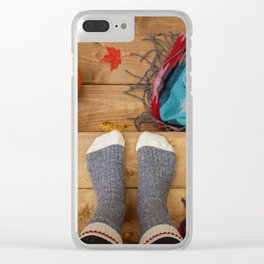 Her Autumn (Color) Clear iPhone Case