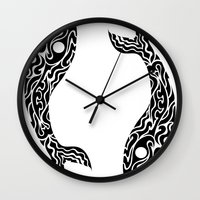 pisces Wall Clocks featuring Pisces by Mario Sayavedra