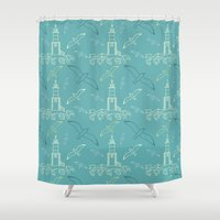 marine Shower Curtains featuring Marine pattern by LaDa