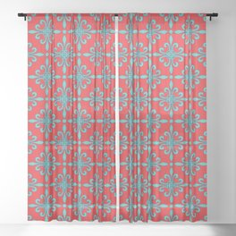 Fleur de Lis - Red & Turquoise Sheer Curtain
