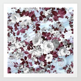 Boho burgundy white pastel marble floral pattern Art Print