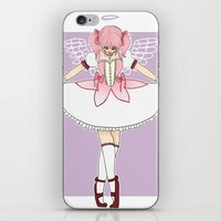 madoka magica iPhone & iPod Skins featuring madoka by flourpots