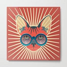 Retro Hipcat & His Sunglasses - Mojo Sunburst Metal Print