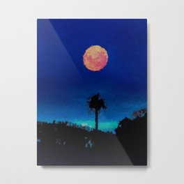 Lone Tree and Orange Moon in a midnight sky  Metal Print